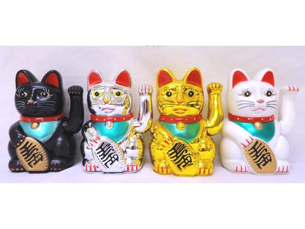 "Battery Powered Hand Motion Lucky Cat - 7""H"