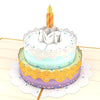Close-up of colorful birthday cake with candle