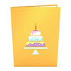 Yellow exterior of card with colorful birthday cake with candle