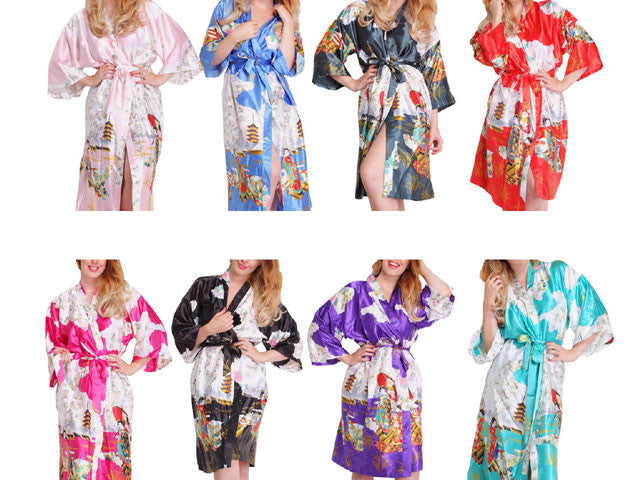 Geisha Print Beach Robe - Thigh Length