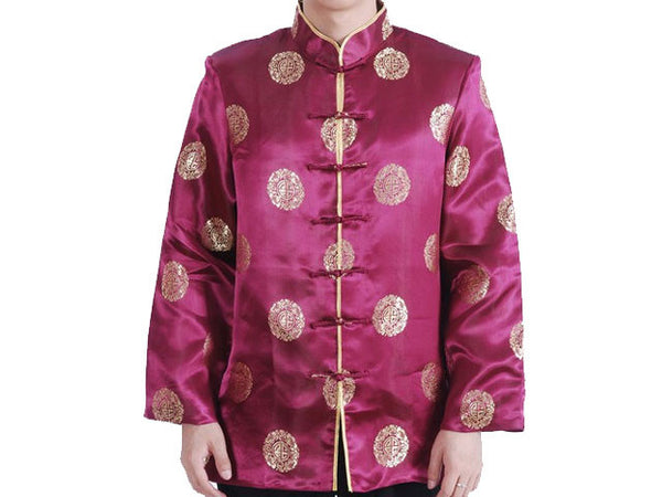Longevity Design Brocade Mandarin Jacket - Lined