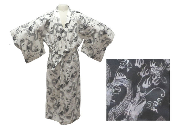 Linen/Cotton Dragon Print (Happy Coat) Men's Robe