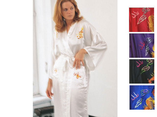 Silk Robe w. Dragon Embroidery