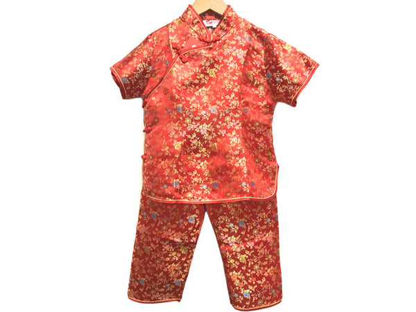 Girls Short Sleeves Daisy Floral Brocade Rayon Outfit