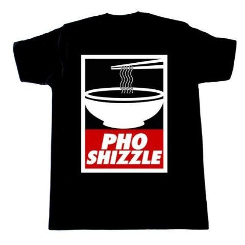 Fun black T-shirt with white and red bowl design with words, Pho Shizzle