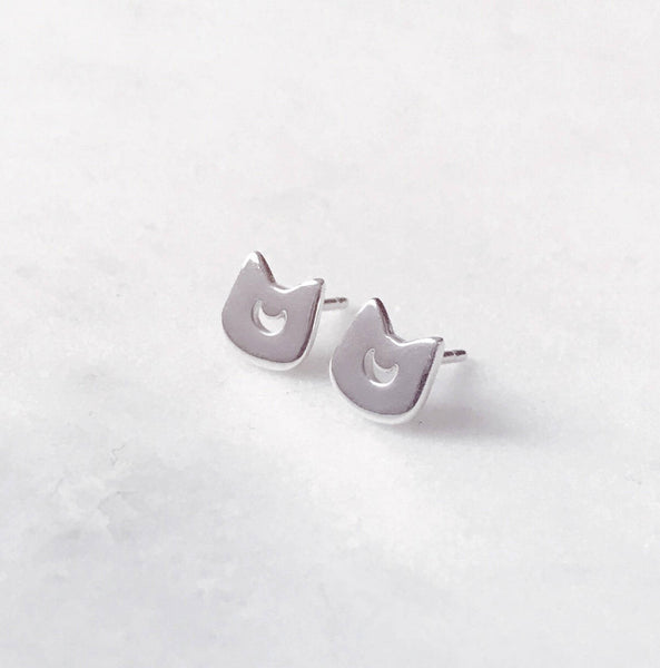 Moon Kitty Earrings (Sterling Silver)