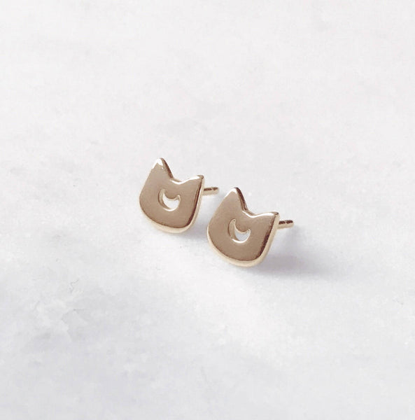 Moon Kitty Earrings (Gold Plated)