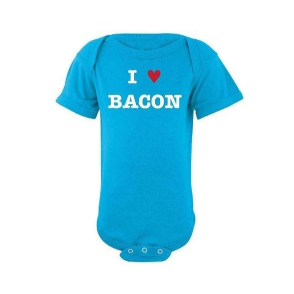 Cute blue onesie that says I love bacon