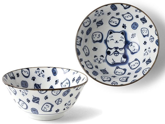 Blue on White Lucky Cat Design Bowl (6 inch)