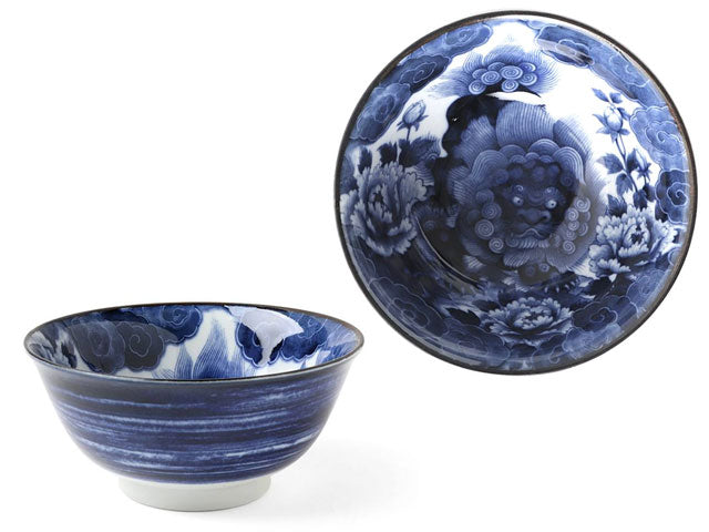 Blue on White Komainu Foo Lion Design Bowl (5.75 inch) ( Available 4/20/21 )