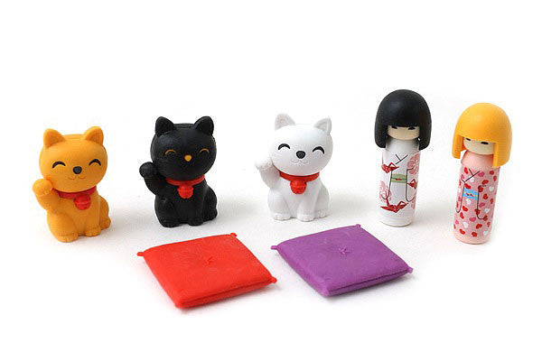 Doll and Lucky Cat Eraser Set