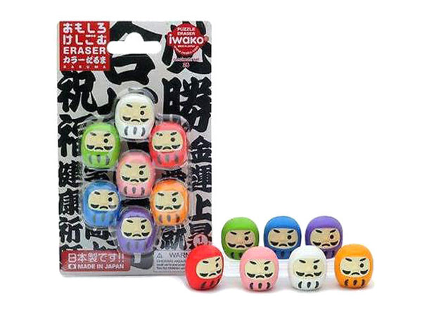 Mini Daruma Eraser Set