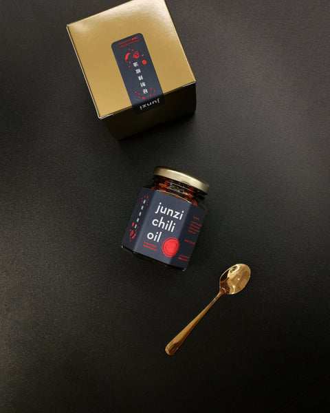 Black Label Junzi chili oil with gift box and small golden spoon