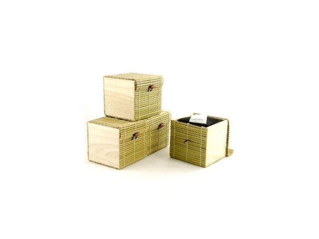 Green Bamboo Box with Closure - Cube