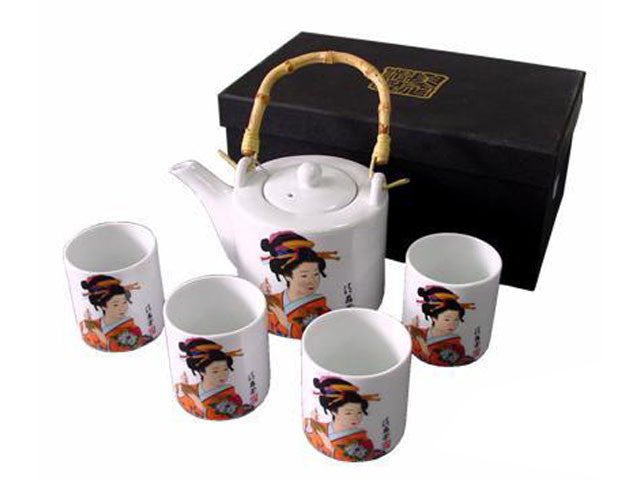 Japanese Lady Design Ceramic Tea Set
