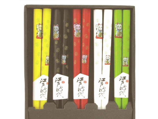 Lucky Cat Wooden Chopsticks Set