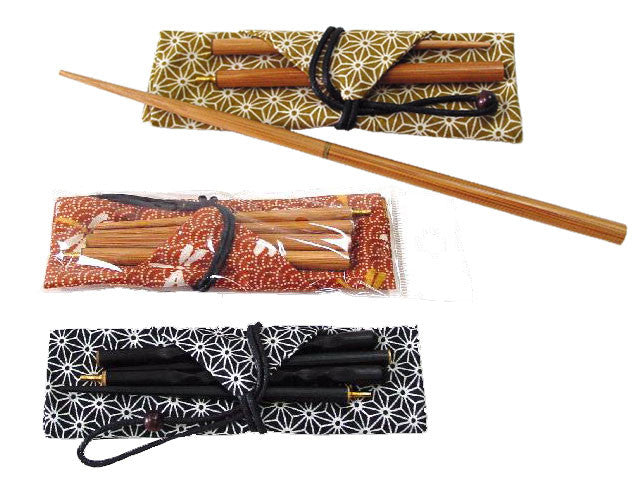 Wooden Travel Chopsticks with Fabric Sleeve