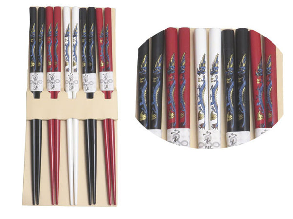Japanese Chopsticks w. Dragon Design (5 pairs)