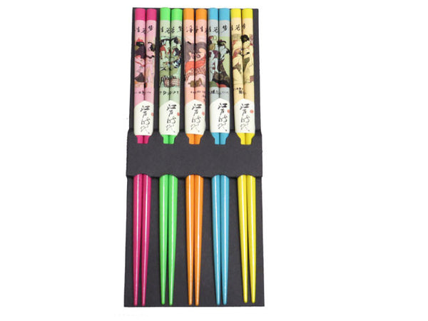 Japanese Chopsticks w. Couple Design (5 pairs)