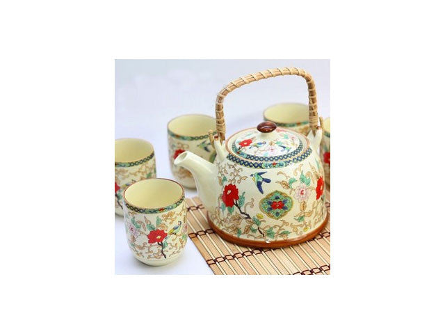 Bamboo Handle Tea Set (1 Tea Pot & 6 Cups)