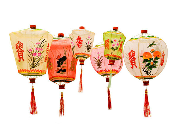Hexagonal-shaped, vintage gauze lanterns with red tassels and hand-painted floral, calligraphy designs