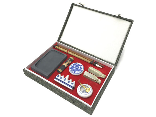 Premium Chinese Calligraphy Set - Rectangular Brocade Box