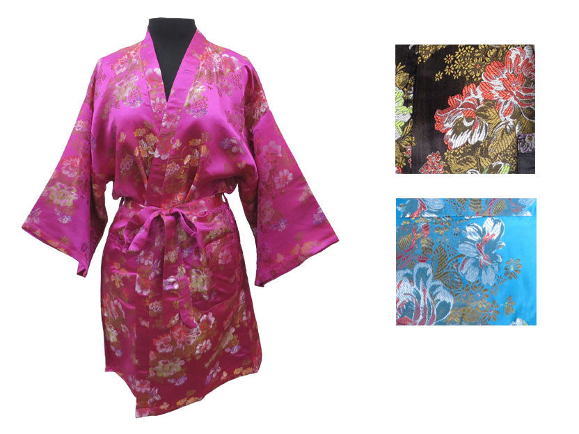 Floral Rayon Brocade Robe - Thigh Length