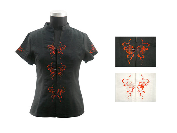 Symmetrical Embroidered Design Top - Short Sleeve
