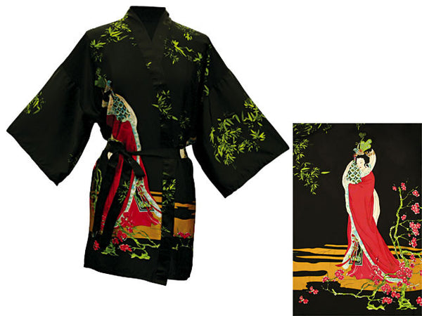 Maiden in Bamboo Garden Design Printed Robe