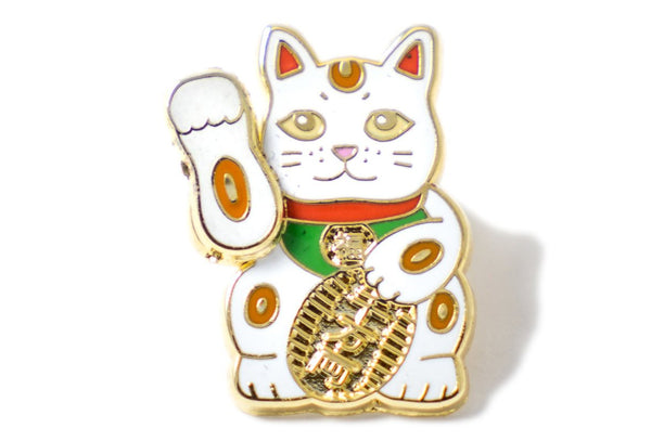 Cute Waving Lucky Cat Pin