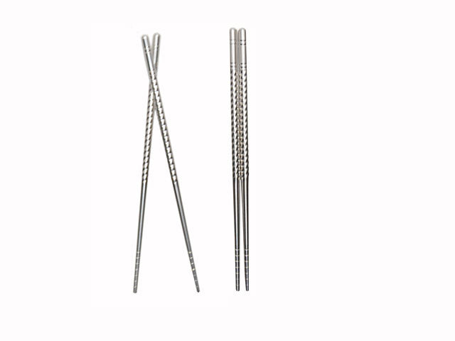 Textured Stainless Steel Chopsticks - Pack of 5 pairs