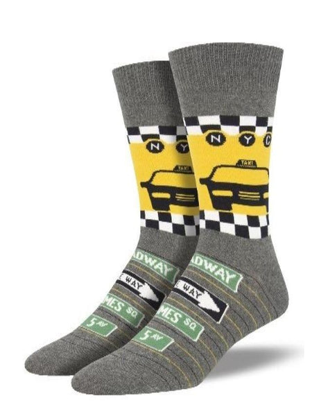 grey socks with NYC Taxi print