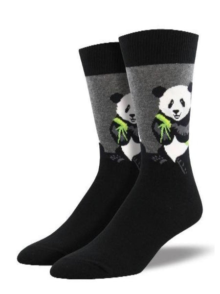 black and grey socks with panda print