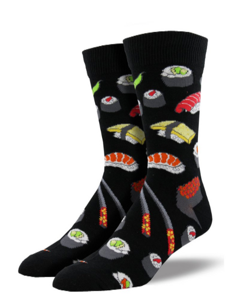 black socks with sushi pattern