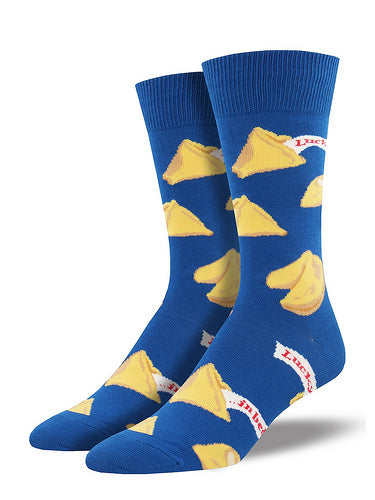 Men's blue socks with fortune cookies