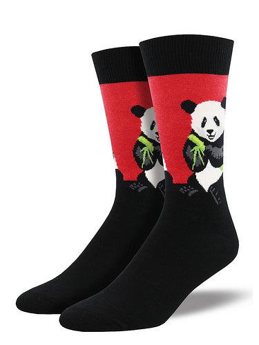 Red and black men's socks with pandas