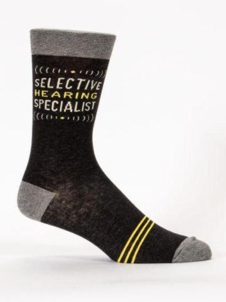 "Black men's sock with gray design and text, ""Selective hearing specialist"""