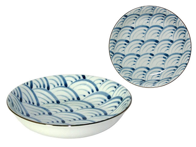 Nami Wave Design Ceramic Shallow Bowl