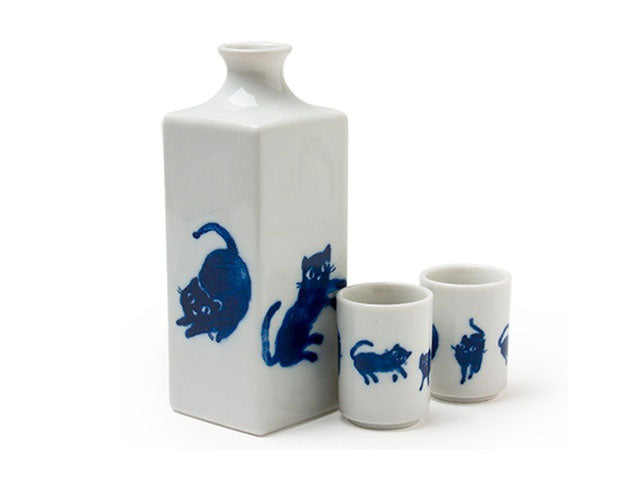 Midnight Blue Cat Sake Set