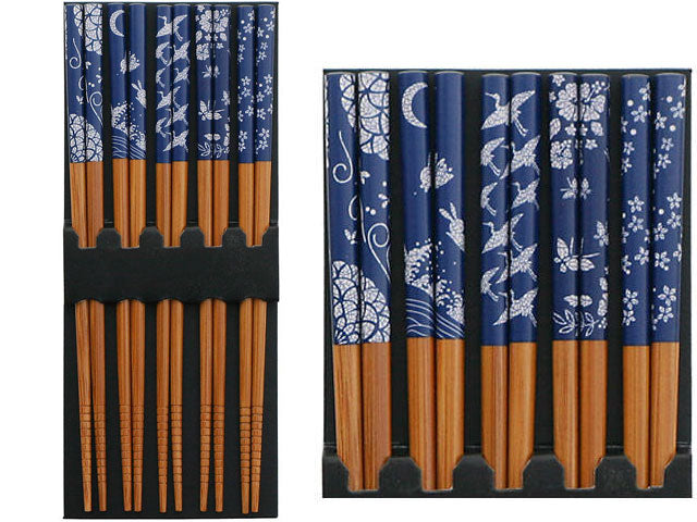 Blue & White Print Chopsticks Set - Assorted Patterns  (5 pairs / Bag)