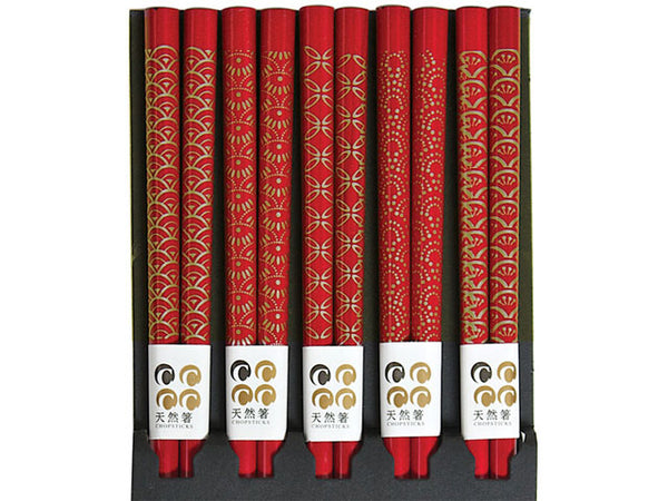 Set of five beautiful red chopsticks with Assorted gold Patterns