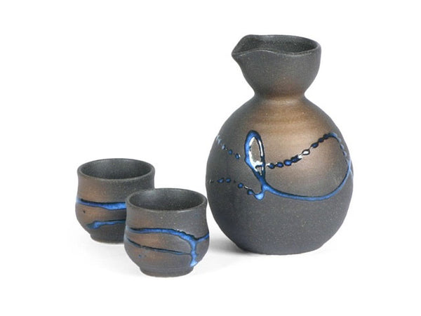Blue Splatter Sake Set