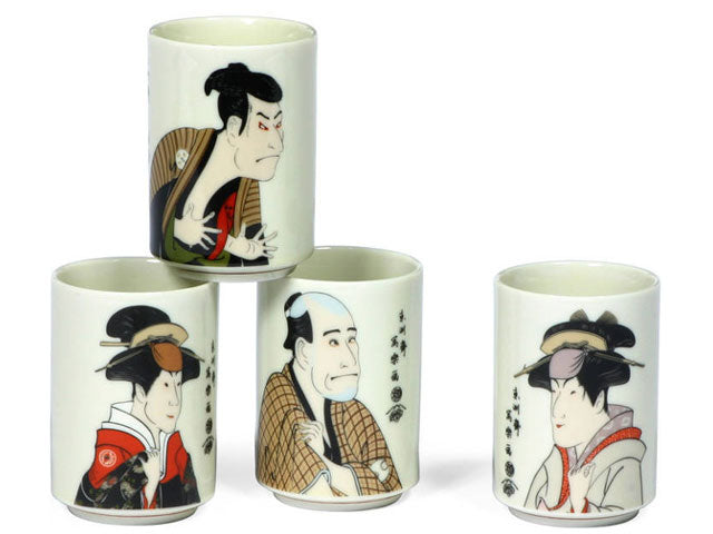 Japanese Kabuki Actors Teacup Set