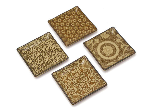 "Item: MIY-G455  Inspired by antique Japanese textile designs, these beautiful patterns are perfectly highlighted against the sepia background. These versatile 5"" plates are great for snacks, pastries, candles and soaps. Set of four assorted patterns packaged in a black gift box.  5"" square x 0.75""h. Ceramic. Microwave, dishwasher safe. Made in Japan."