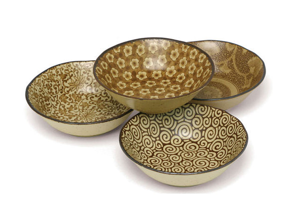 Antique Sepia Series Shallow Bowl Set (5.5 inch)