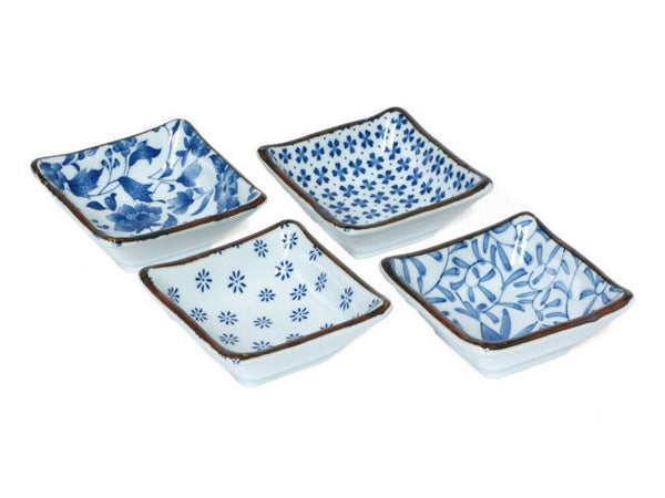 "Did you hear? Blue & white is the new neutral! That's what we can surmise from the popularity of this color scheme. This wonderful little dish set is perfect for a sushi party, for spices on the table, candy, jewelry or even soaps and votive candles. Set of four dishes in a gift box.  3.25"" square x 1.25""h. Ceramic. Microwave, dishwasher safe. Made in Japan."