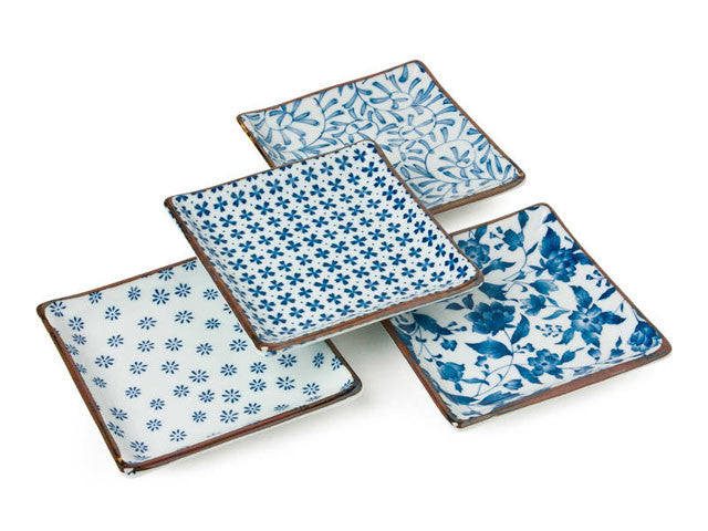 Assorted Blue on White Design Square Plate Set