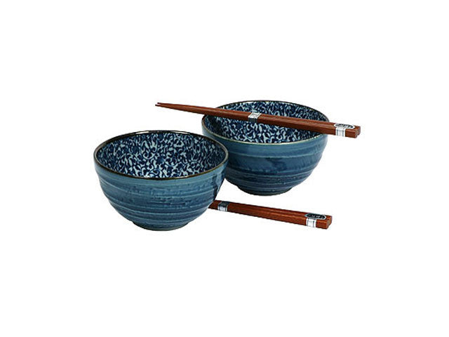 Blue Vine Kyo Karakusa Bowls & Chopsticks Set ( Available 3/16/21 )