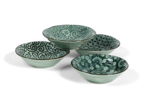 "Antique Green Flare Edge Bowl Set  (5.5"")"