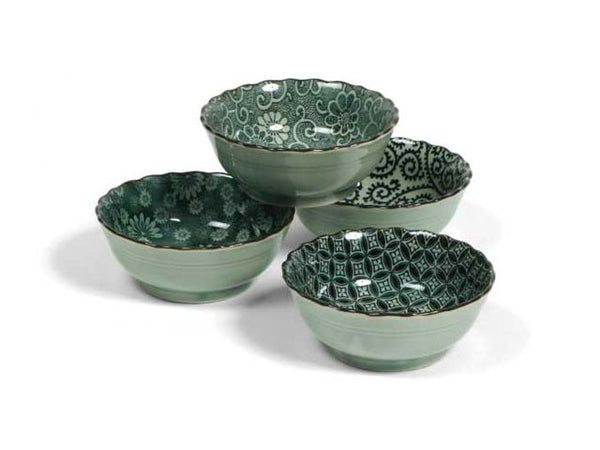 "Antique Green Bowl Set (4.75"")"